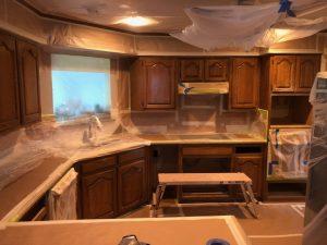 Before kitchen cabinet refinishing